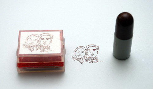 couple caricatures on ink stamp + refill 1