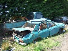 A green Renault 12 (Scrawb) Tags: renault junkyard scrapyard rustycars kildare renault12 oldrenault renaultcars
