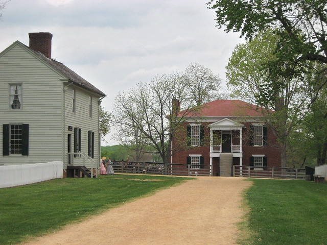 Appomattox Courthouse. The red brick building is the court house,
