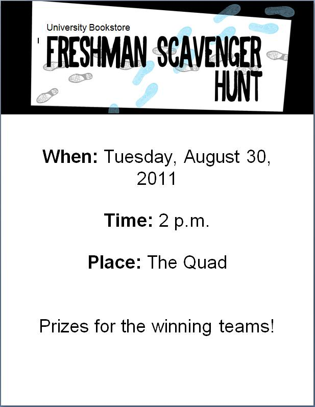 MBS Foreword Online - Freshman Scavenger Hunt Flyer - Monthly Marketing Tips