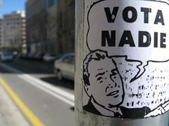 vota nadie (nadie en campaña) Tags: barcelona streetart sticker pegatina politica nadie postgraffiti