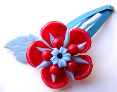 Blue and Red Vintage Flowers Barrette
