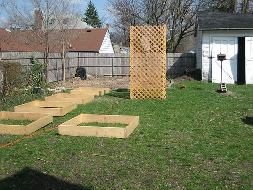 beginnings of the raised bed garden