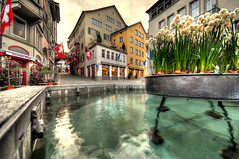 flowers in the fountain (Toni_V) Tags: city fountain switzerland europe zurich flags 2008 hdr d300 sigma1020mm augustinergasse firstquality photomatix 5exp toniv diamondclassphotographer ©toniv 13042008