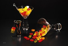 Gummi Bear Martini (floralgal) Tags: stilllife glass reflections candy gummibears creative martini alcohol brightcolors cocktails soe goldstar nonalcoholic neoncolors martiniglasses boldcolors chewycandy creativephoto mywinners superbmasterpiece diamondclassphotographer flickrdiamond goldstaraward gummibearmartini
