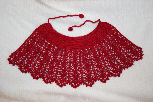 Crocheted infant cape using heavily modified Japanese pattern