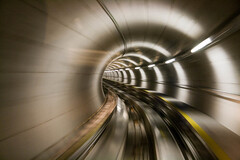 Motion blur (themonnie) Tags: motion blur speed airport tunnel motionblur zrich flughafen bewegungsunschrfe