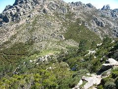 Descente directe sur le col d'Arjetu depuis la plate-forme herbeuse