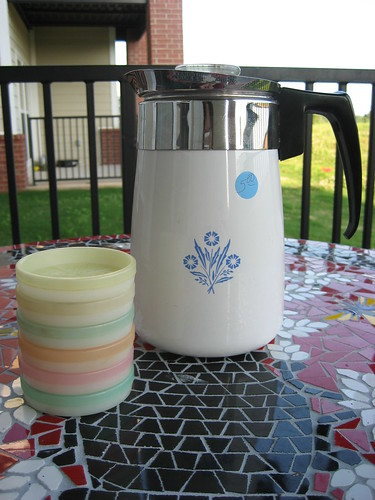 Corning Percolator & Tupperware Coasters