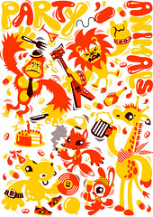 partyanimals-white (Chobopop) Tags: party rabbit bunny animals illustration gorilla fox giraffe hippo vector chobopop