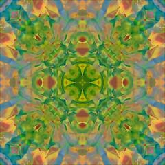 Marigold Kaleidoscope (hz536n/George Thomas) Tags: blue red orange abstract flower green fall oklahoma yellow flora kaleidoscope stillwater 2007 cs3 canon30d canonef70200mmf4lusm
