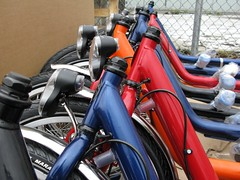 Bakfietsen in blue, red and orange - ready for final assembly
