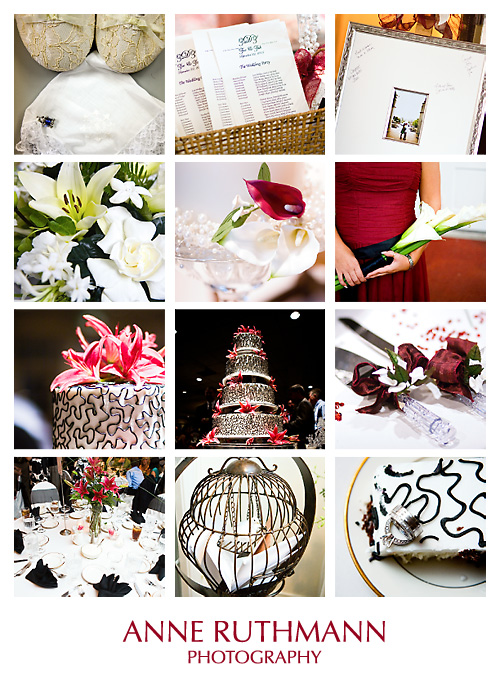 Black White Red Real Wedding Detail Inspiration Board
