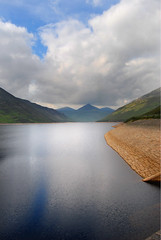 silent-valley (Ryan McD) Tags: park ireland sky cloud mountain water stone wall photoshop nikon raw down elements northernireland damm ulster mournes silentvalley codown d40x