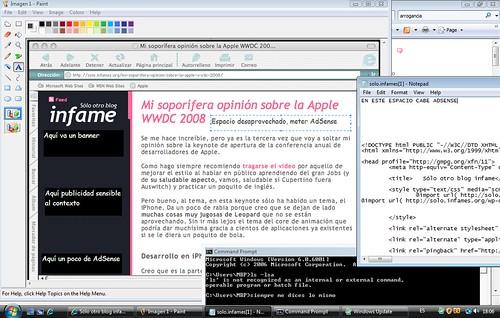 Captura de pantalla a modo de sneak peak de como desarrollo el nuevo theme del blog en Windows Vista y con múltiples herramientas de desarrollo web