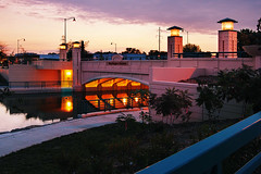 Sunset Bridge (Madison Guy) Tags: sunset wisconsin lights madison wi yaharariver eastwashingtonavenuebridge yaharaparkwaybikepath enlightedbridge