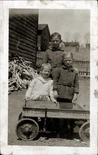 Three children wagon
