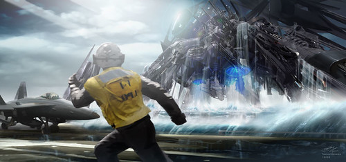 Boceto Transformers concepto porta-aviones