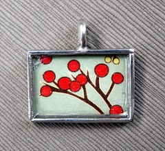 Cherry Blossom - Rectangular Pewter Pendant (Daisy Mae Designs) Tags: red brown green silver cherry japanese hand blossom handmade craft made daisy designs mae etsy crafty pewter pendant solder daisymae soldered ksickles