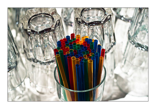Straws and upsidedown glasses