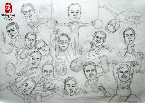 Group caricatures for Microsoft SEA Team pencil sketch