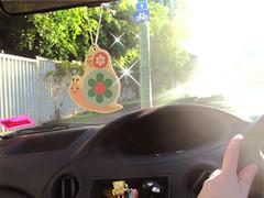 decole snail air freshener (Peachypan) Tags: cute car smiling japan japanese snail kawaii import happyface scent airfreshener decole peachypan decolello
