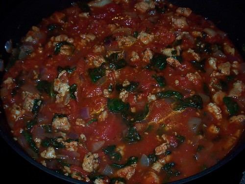 spicy spinach sausage tomato sauce