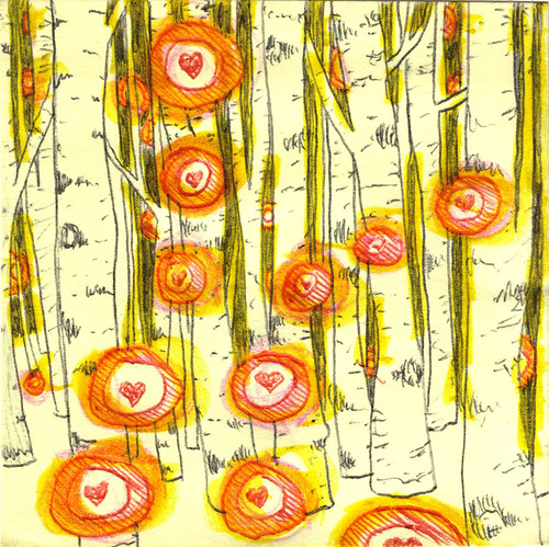 Winter Birch Forest with Orbs