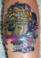 My photo gets tattooed (TRUE 2 DEATH) Tags: railroad tattoo train engine unionpacific railfan freighttrain sd402 curtbaer