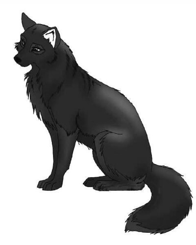 black anime wolf pup. picture