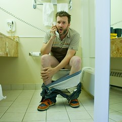 Can't we talk later ? (Delgoff.) Tags: auto portrait me self myself bathroom hotel toilets portnawak