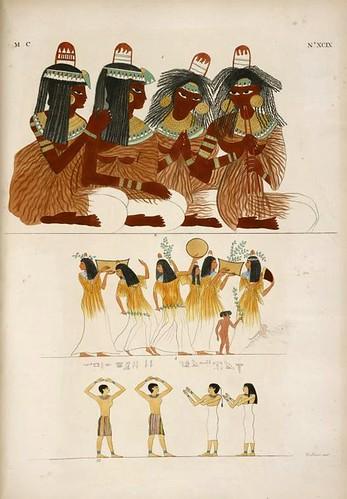 21- Antiquisima pintura representado a mujeres sentadas cantando al sonido de la flauta doble