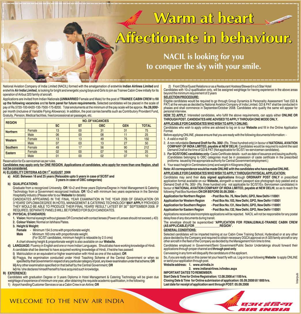 Indian airlines Recruitment Trainee Cabin Crew