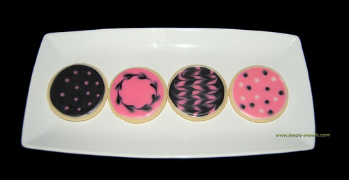 pink and black birthday cookies