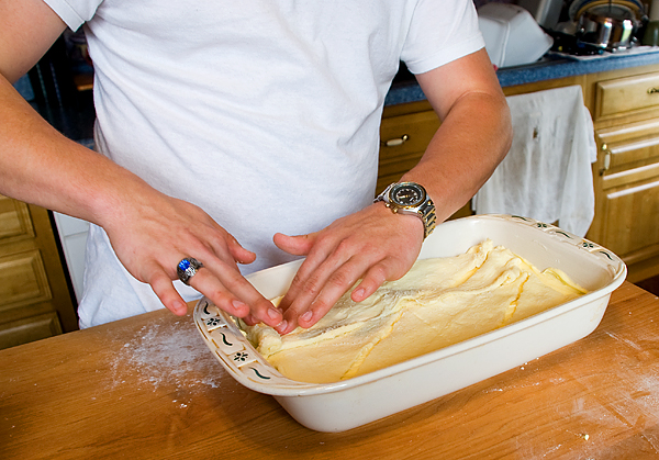 place dough on top of filling