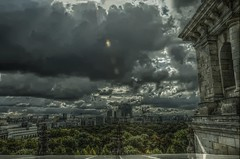 Il cielo sopra Berlino (xNstAbLe) Tags: trees light sky storm berlin clouds dark apocalypse reichstag sonycenter hdr tonemapped qtpfsgui