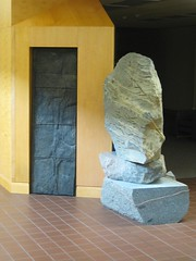 "<p>Title: ""Laurence McKinley Gould Tribute Sculpture""<br/>Sculptor: Raymond I. Jacobson<br/><br/>Accessible to Public: yes, indoors<br/>Location: Gould Library, Carleton College<br/>Ownership: Carleton College<br/>Medium: Cast bronze and glacier boulders<br/>Dimension: 6 feet high<br/>Provenance: commissioned by the Carleton College as a tribute to Laurence McKinley Gould<br/>Year of Installation: 2002<br/>Physical Condition: good</p>"