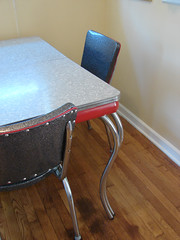 diningroom table (stinkycretingurl) Tags: red black vinyl retro sparkle thrift 50s thriftstore recycle remake reupholstery redesign dinette redo thrifted kuehnekhrome