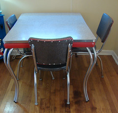 diningroom table finished (stinkycretingurl) Tags: red black vinyl retro sparkle thrift 50s thriftstore recycle remake reupholstery redesign dinette redo thrifted kuehnekhrome