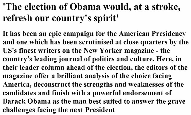 The election of Obama would, at a stroke, refresh our countrys spirit