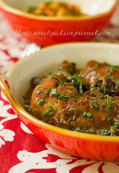 Braised Chicken with Carrot Juice, Dates & Spices