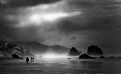 Haystack Rocks (infrared). (coulombic) Tags: blackandwhite beach oregon canon rocks infrared 5d canon5d cannonbeach canoneos digitalinfrared canonef28135 canoneos5d infraredphotography haystackrocks gabefarnsworth maxmaxcom canoninfrared coulombic