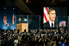 obama on stage in grant park