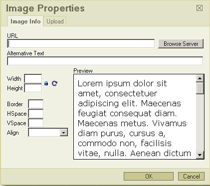 FCKEditor Image Properties dialog