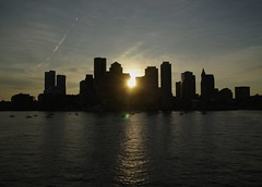 Bye, bye, Boston (Sebasti Giralt) Tags: usa silhouette boston skyline waterfront massachusetts silueta