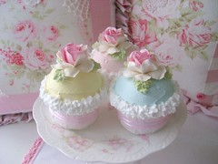 Pastel Faux Cupcakes (sweetnshabbyroses) Tags: christmas pink roses food glitter cottage fake sugar ornament cupcake faux sweets chic confection shabby