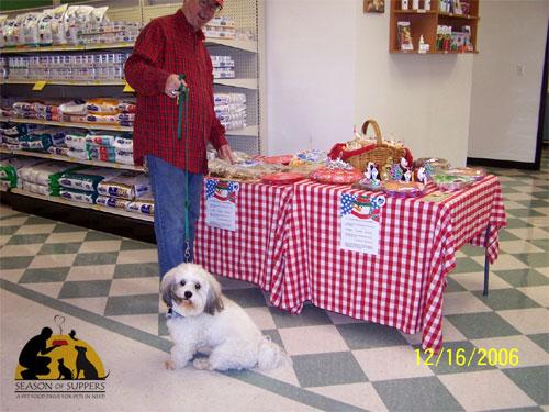 Dog at a bake sale