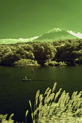 Fuji-yama, Lake Shoji, and Fishermen (aeschylus18917) Tags: red sky mountain lake tree nature japan landscape ir fishing fisherman nikon scenery d70 nikond70 surreal mountfuji infrared  fujisan infra  1870mm edit shoji yamanashi lale   shojiko 1870f3545g yamanashiken yamanashiprefecture shojilake lakeshoji  nikkor1870f3545g danielruyle aeschylus18917 danruyle druyle fujiyamamt vinfrared   fujifujisan nikkor1870f3545gdx