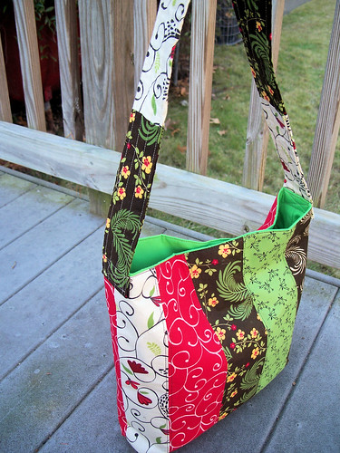 Quilted Purse Brown, Red, Green