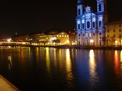 Jesuit Church at Night (mrgeebee) Tags: light church night reflections river switzerland luzern lucerne jesuit